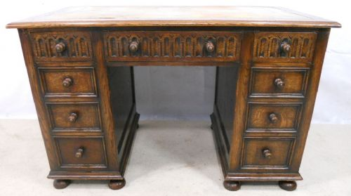 Heavy Oak Jacobean Style Kneehole Writing Desk Workstation